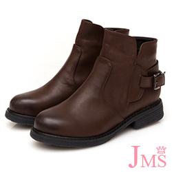 JMS-個性定番復古擦色後搭扣工程短靴-咖啡色