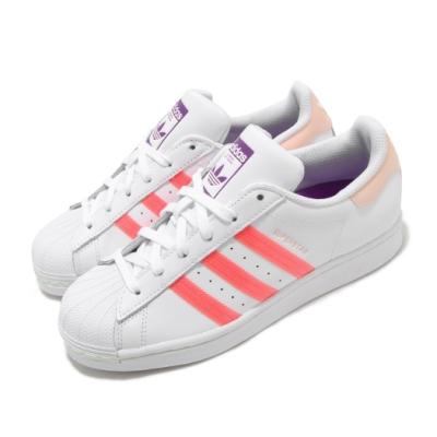adidas 休閒鞋 Superstar 復古 低筒 女鞋 愛迪達 三葉草 貝殼頭 皮革鞋面 白 橘 紫 FW2502