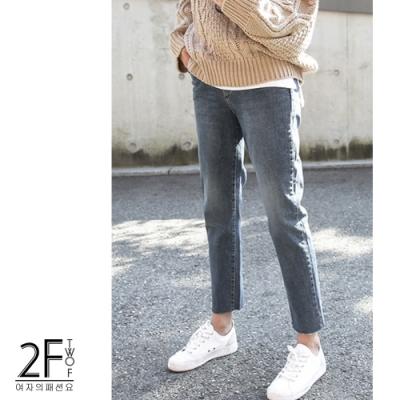 2F韓衣-加寬鬆緊加絨毛邊造型牛仔褲-藍(XL-4XL)