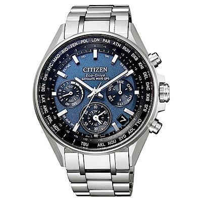CITIZEN 星辰廣告款光動能GPS衛星對時三眼腕錶-藍(CC4000-59L)