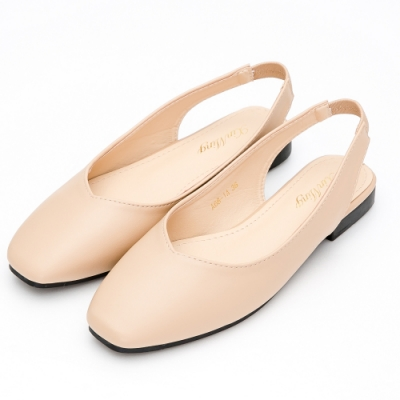 River-Moon都會優雅 極簡素面V口後拉帶方頭鞋-米杏