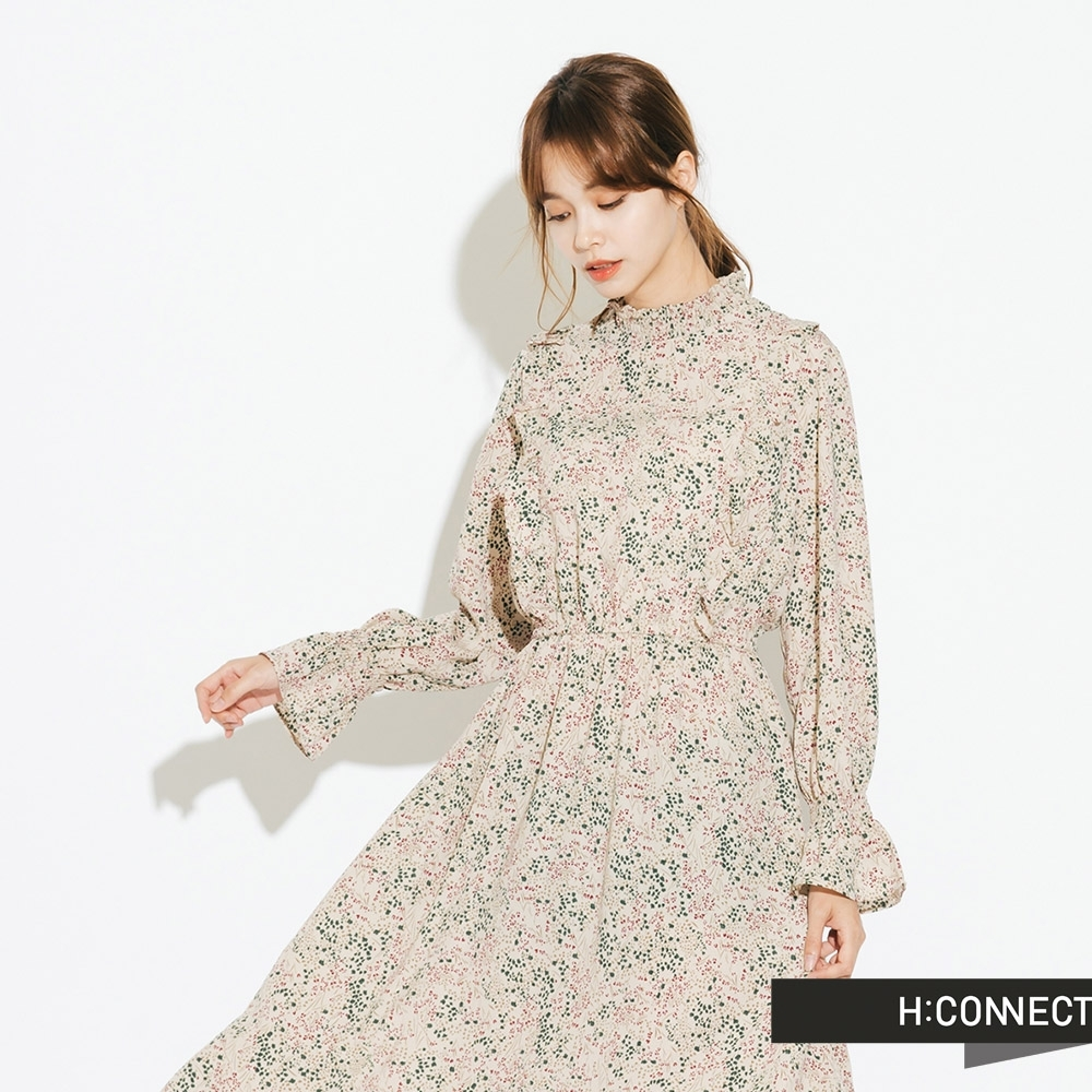 H:CONNECT 韓國品牌 女裝-荷葉領碎花洋裝-卡其