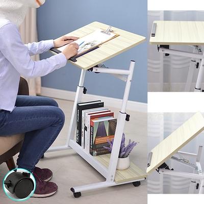 多功能高低傾斜床邊桌+移動輪 (書桌懶人桌床上桌/升降學習桌用餐桌/工作桌筆電桌電腦桌辦公桌/沙發桌演講桌)