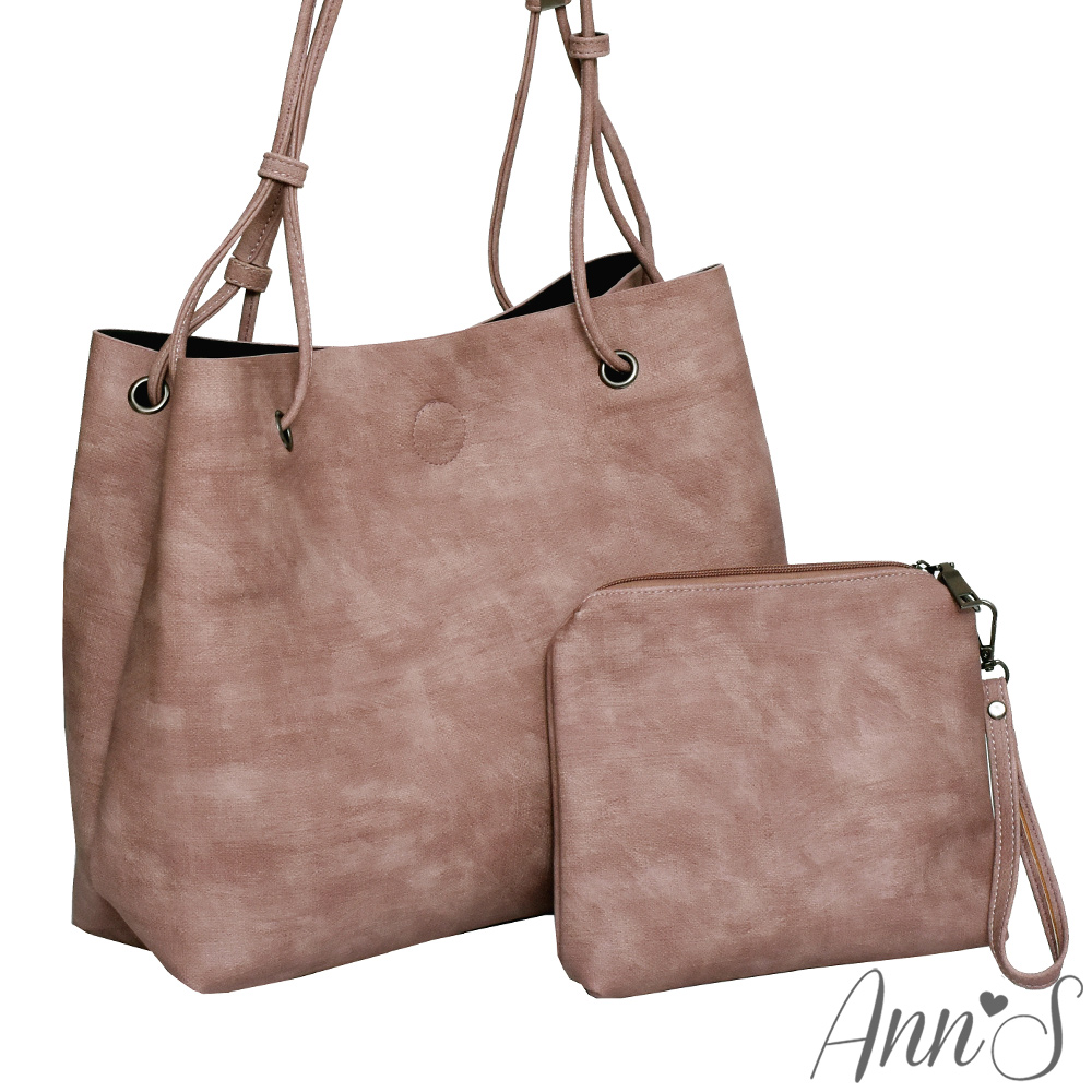 Ann'S訂製雲彩皮革肩背大容量托特包-粉(附手拿包)