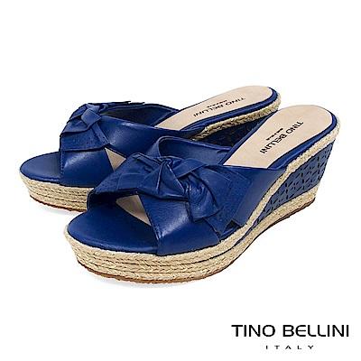 Tino Bellini 巴西進口雙層紐結皮雕楔型涼拖鞋 _ 藍
