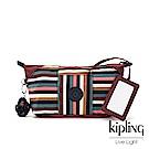 Kipling 繽紛仲夏條紋附隨身鏡化妝包-ART POUCH