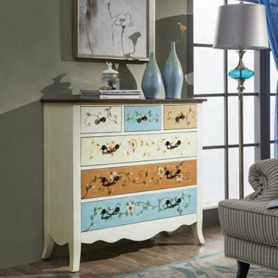Asllie艾莉莎手工彩繪六抽櫃/收納櫃/玄關櫃-100x35x93cm