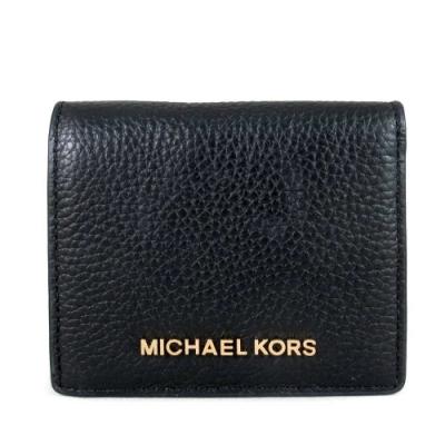 MICHAEL KORS Jet Set Travel鵝卵石紋全皮革雙折式短夾(黑色)