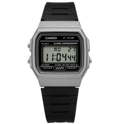 CASIO 卡西歐 計時碼錶 電子數位 橡膠手錶-灰黑色 F-91WM-1B 33mm