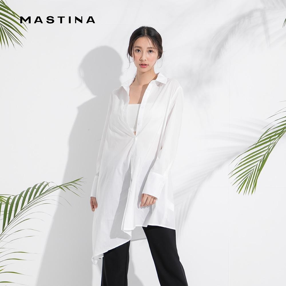 【MASTINA】斜口長版剪裁-襯衫(白色)