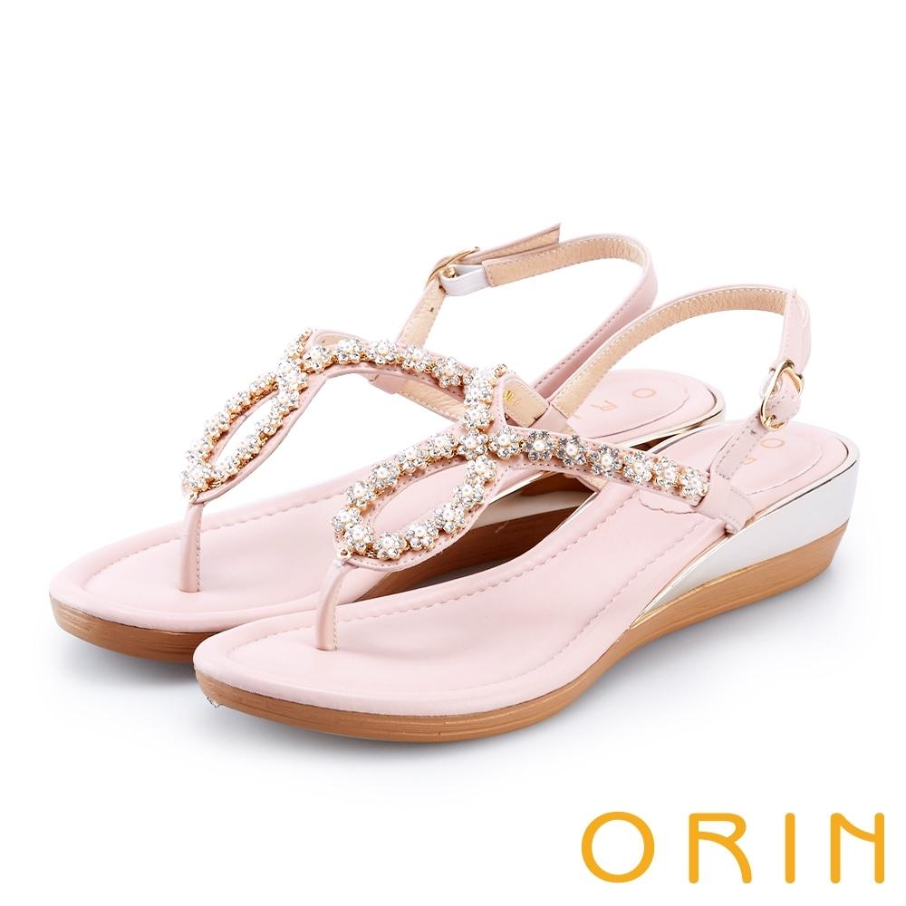 ORIN 花朵造型鑽飾牛皮夾腳涼鞋 粉紅