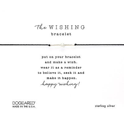 Dogeared Wishing 閃亮星辰豆豆手鍊 幸運珍珠手鍊 銀色X黑色 附原廠盒