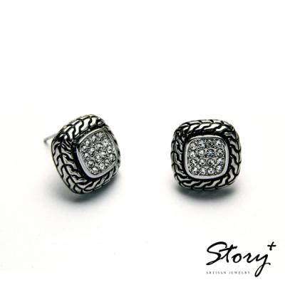 STORY故事銀飾-氣質時尚耳環-Button晶鋯耳環