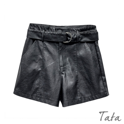 褲頭斜扣皮短褲(附腰帶) TATA-(S~L)