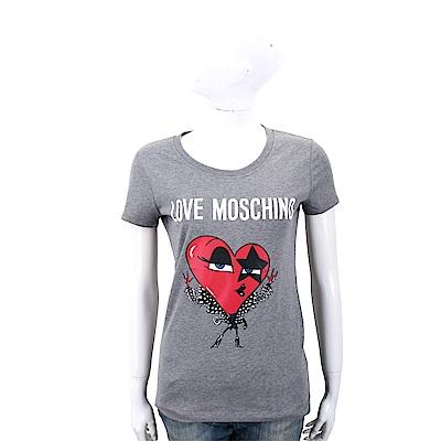LOVE MOSCHINO ROCK 紅心印花灰色棉質短袖T恤
