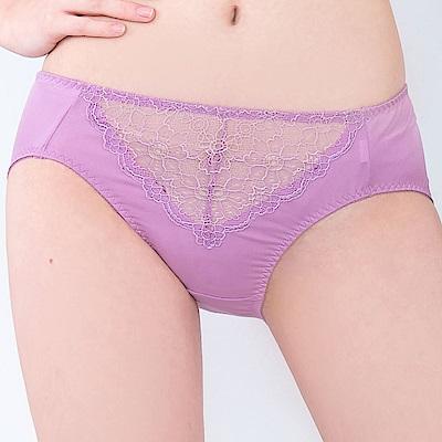 思薇爾 晨曦系列M-XXL蕾絲中腰三角內褲(桑椹紫)