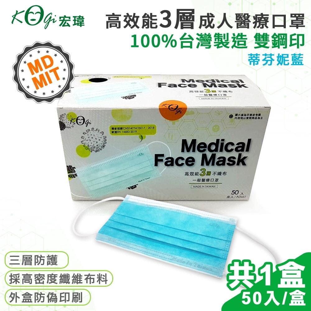 【宏瑋 限量】台灣製 MD+MIT 雙鋼印 高效能三層不織布 醫療級 醫用成人口罩 50入(蒂芬妮藍)