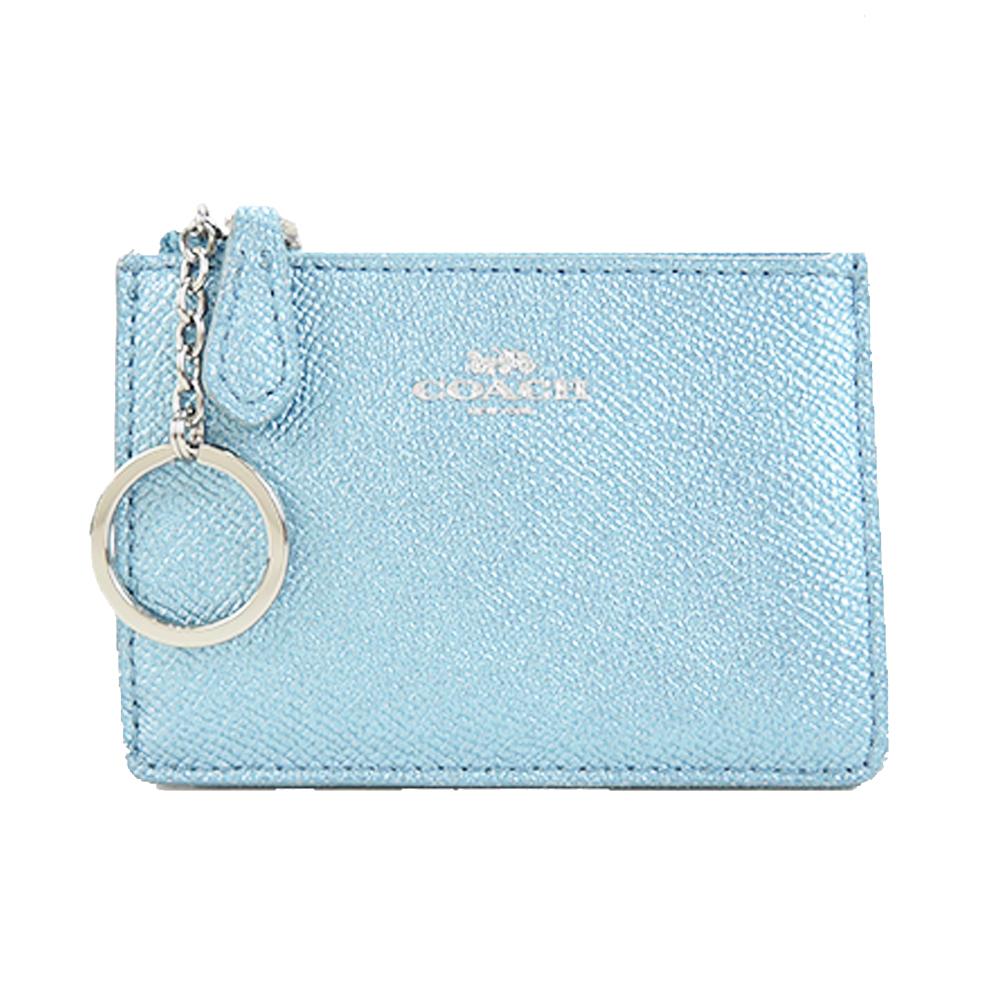 COACH 馬車珠光防刮皮革後卡夾鑰匙零錢包(珠光水藍)COACH