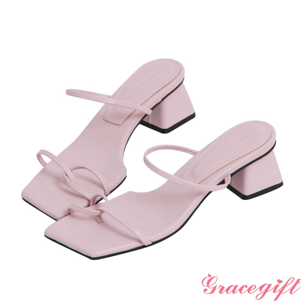 Grace gift-雙細帶套趾中跟涼拖鞋 淺紫