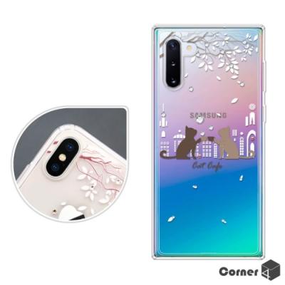 Corner4 Samsung Note 10 奧地利彩鑽雙料手機殼-午茶貓咪