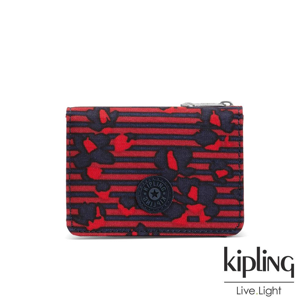 Kipling 高雅紅花條紋實用短夾-ALETHEA