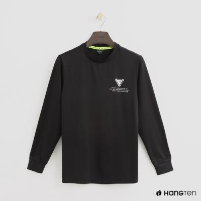 Hang Ten-童裝-簡約素面圓領長袖上衣-黑