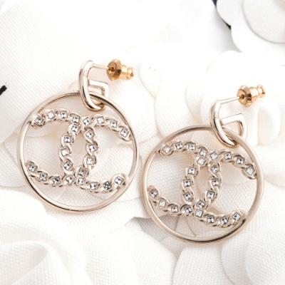 CHANEL 新款立體大圓型雙C LOGO水鑽穿式耳環 (金色)