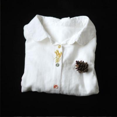 純棉刺繡白襯衫寬鬆長袖內搭上衣-設計所在
