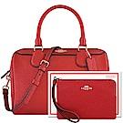 COACH 紅色光澤防刮皮革手提/斜背兩用包+COACH 紅色防刮皮革手拿包