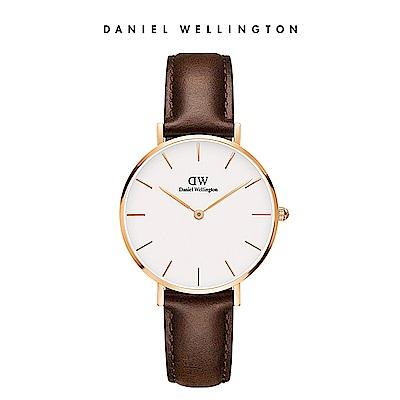 DW 手錶 官方旗艦店 32mm玫瑰金框 Petite 深棕真皮皮革錶