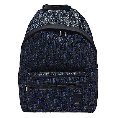 Dior 經典OBLIQUE系列小牛皮烙印LOGO尼龍材質後背包(藍)