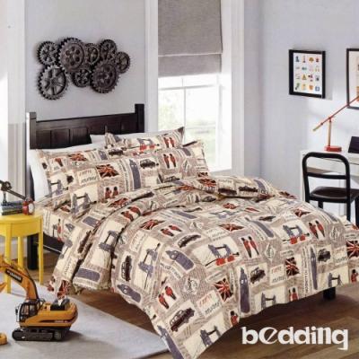 BEDDING-活性印染5尺雙人薄床包三件組-英倫風尚