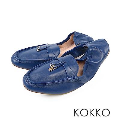 KOKKO - 最美的風景柔軟羊皮莫卡辛便鞋-藍眼淚