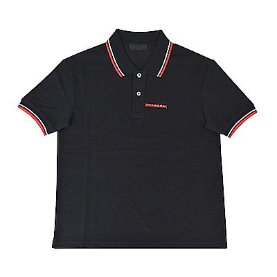 PRADA經典橡膠LOGO紅白設計純棉短袖POLO衫(M/L/黑)