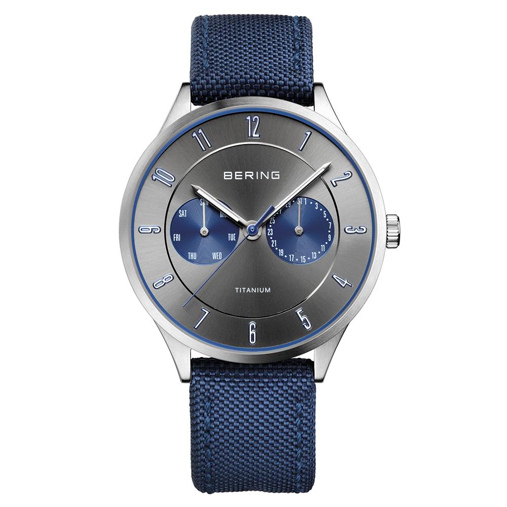 BERING丹麥精品手錶 雙眼日期顯示尼龍錶帶 海軍藍x灰39mm