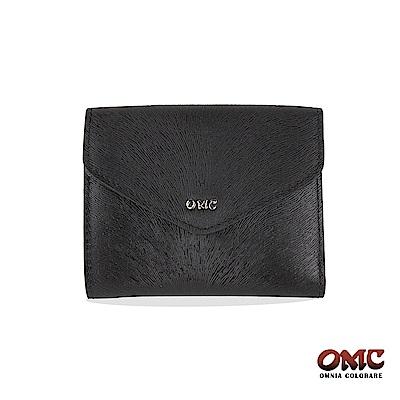 OMC 進口小牛皮-馬尾紋壓扣9卡零錢短夾-黑色