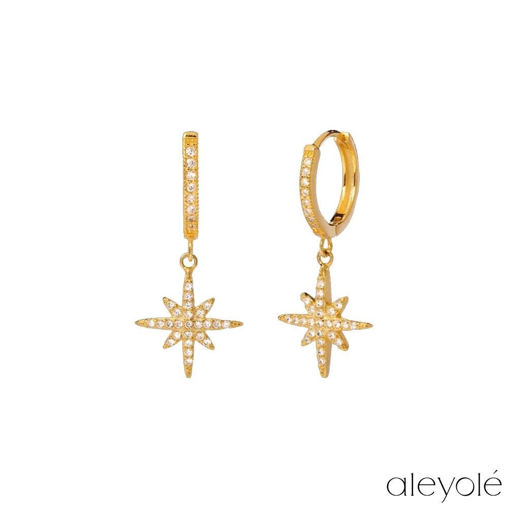 ALEYOLE 閃耀星芒925純銀鍍18K金鋯石耳環 NOVA GOLD