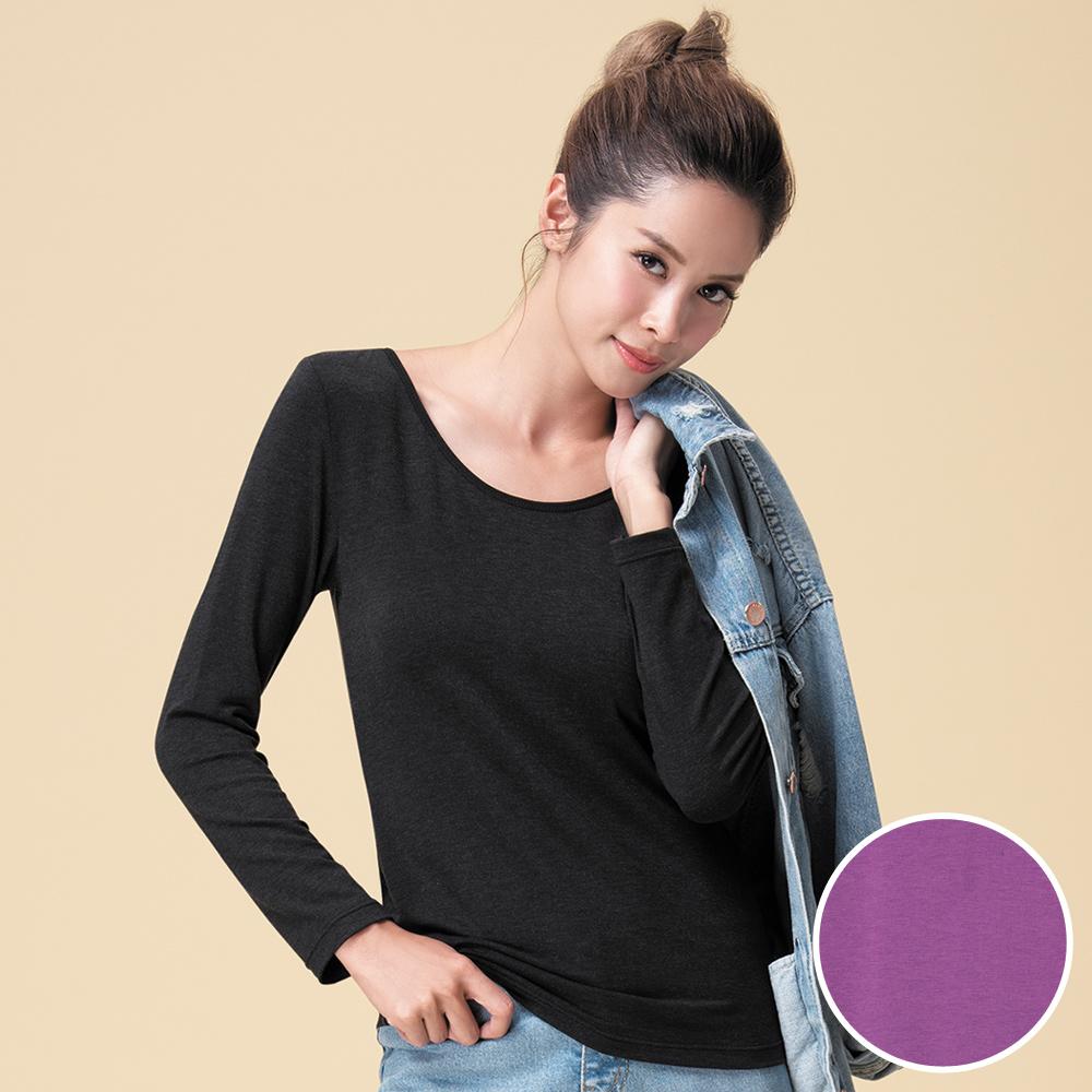 莎薇-極衣恆溫 M-LL 圓領長袖保暖衣(紫)