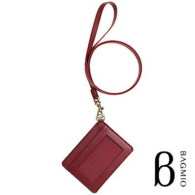 BAGMIO vigor 牛皮橫式雙卡證件套 酒紅 附皮背帶