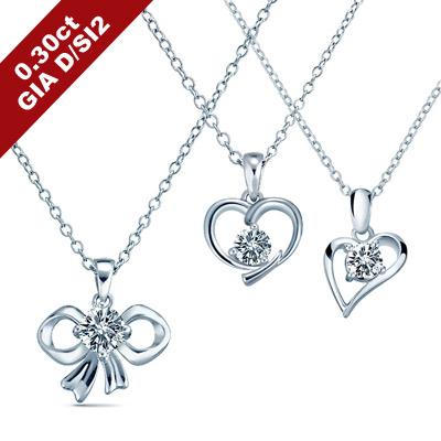 艾尼希亞鑽石 GIA D/SI2 30分 愛心&蝴蝶結鑽石項鍊