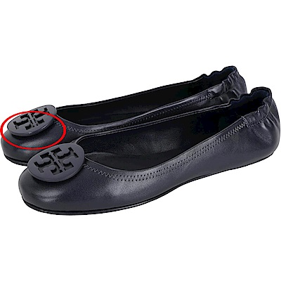 TORY BURCH Minnie Travel 夜藍色琺瑯盾牌飾折疊平底鞋(展示品)