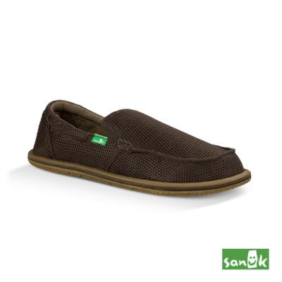 SANUK 男款 US9 針織透氣懶人鞋(咖啡色)