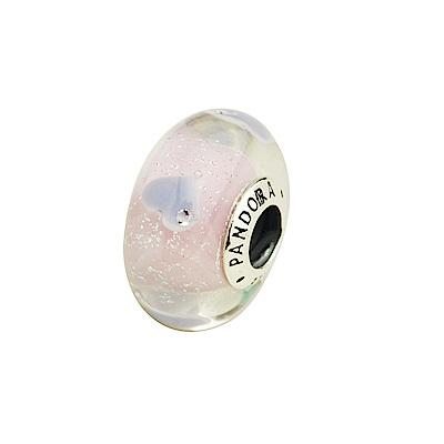 Pandora豐富愛心粉紫琉璃墜