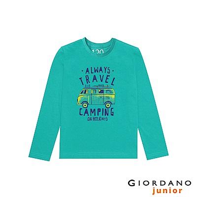 GIORDANO 童裝冒險旅程印花長袖T恤-73 光譜綠
