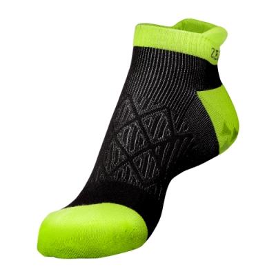 【ZEPRO】男女止滑抗菌慢跑襪-黑/螢光綠
