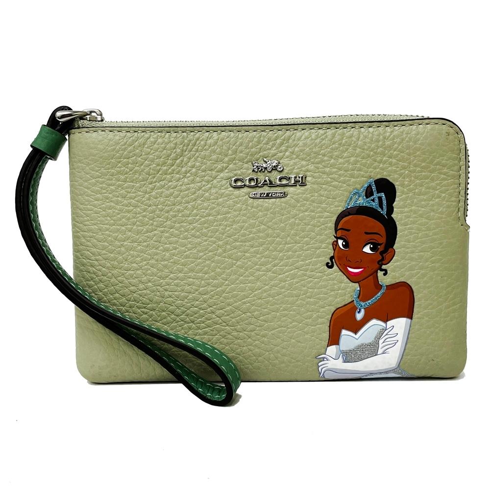 COACH X DISNEY限量聯名款公主系列手拿包零錢包(芙蓉綠)