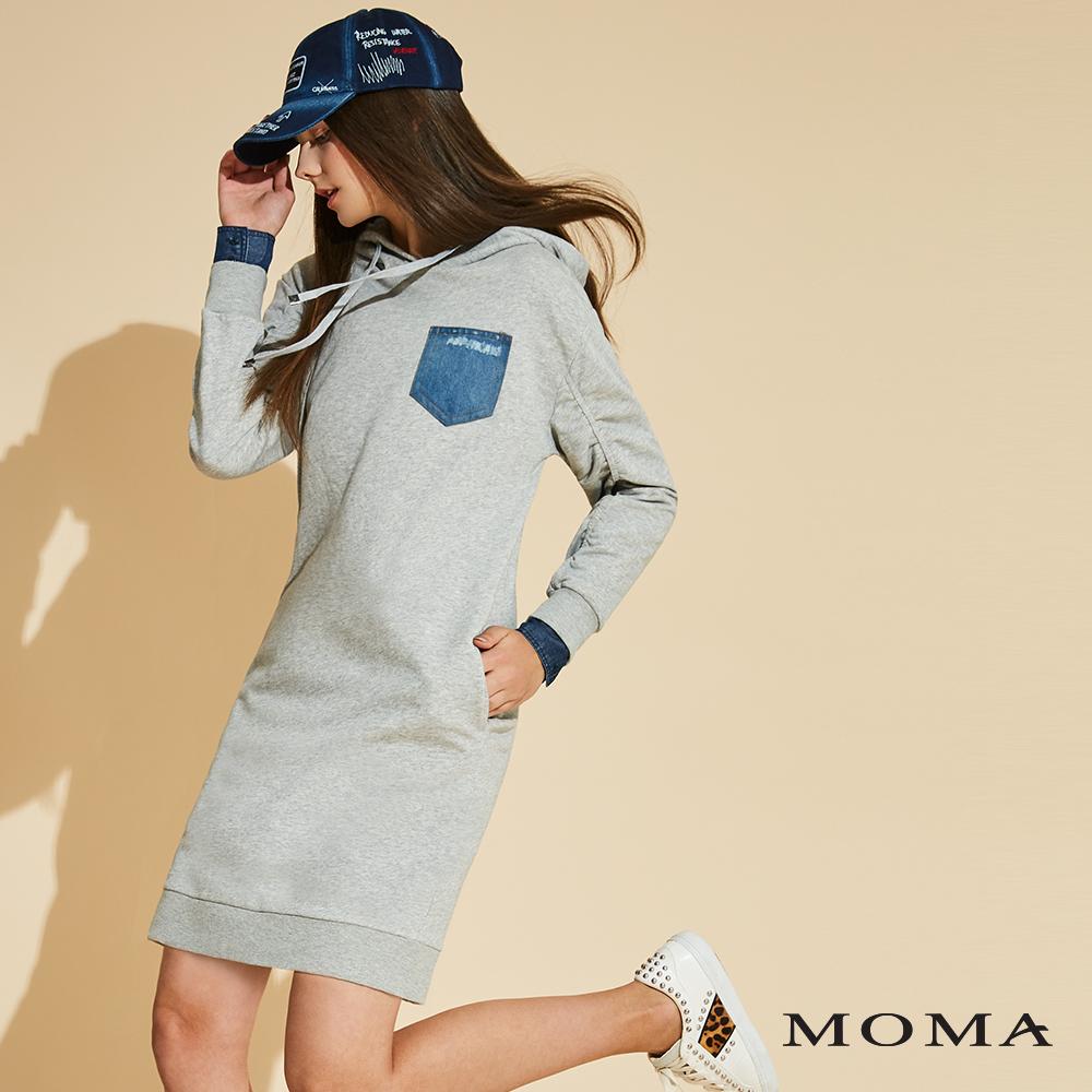 網路獨賣 | MOMA 抽皺長版連帽T