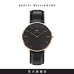 DW 手錶 官方旗艦店 40mm玫瑰金框 Classic Black 爵士黑真皮皮革錶