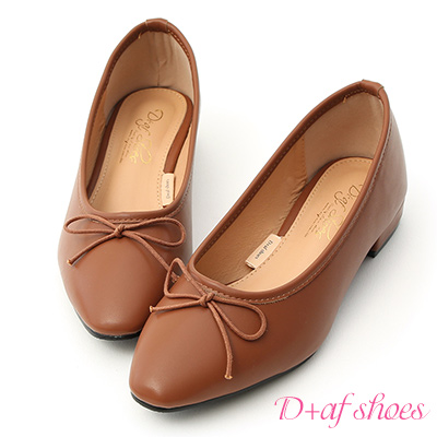D+AF 莫蘭迪風潮.百搭低跟芭蕾娃娃鞋*棕