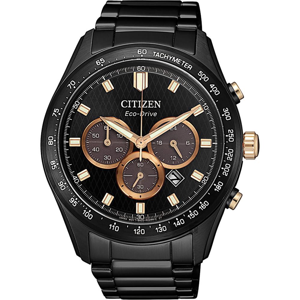 CITIZEN 星辰 亞洲限定光動能計時手錶-黑/43mm(CA4458-88E)